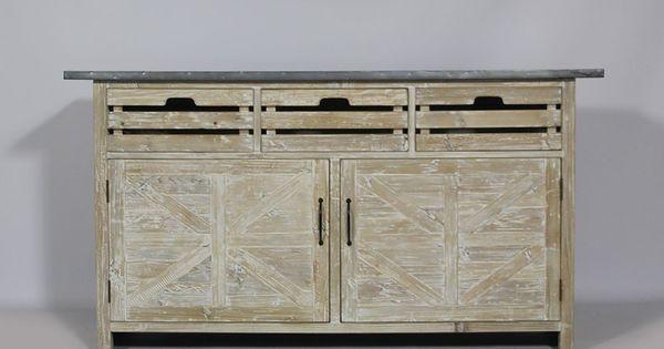 Buffet 2 portes 3 tiroirs en bois recycl blanchi et plateau m tal - Houten buffet recyclen ...