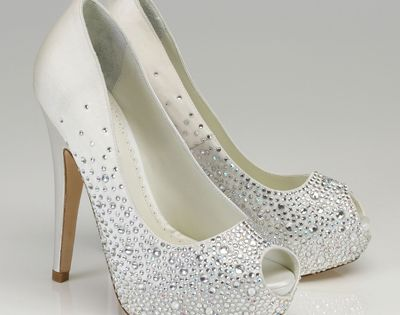 Sparkly wedding shoes. Adore the style and peep toe... But I am not a fan of white shoes. So perhaps charcoal grey. Again.