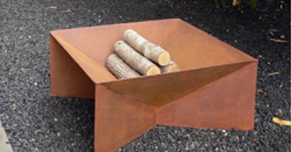 geometric fire pit for the backyard