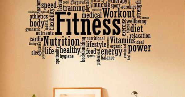 Gym motivation mots Applique Murale Fitness Sport vinyle Wall Sticker Home Decor