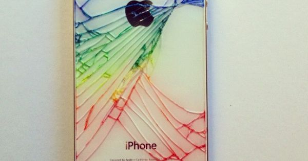 For a cracked iPhone. Go over the cracks with color sharpies and