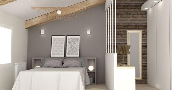 chambre am nag e sous les combles avec dressing http www m. Black Bedroom Furniture Sets. Home Design Ideas
