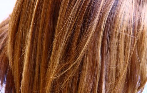 Warm Brown with blonde and honey highlights. Pretty color