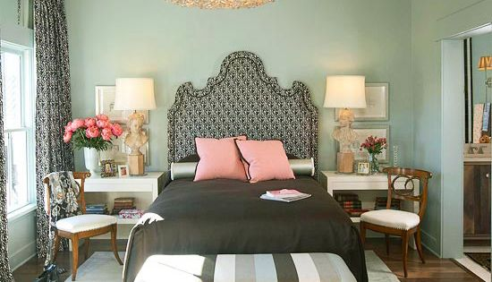 I love the dramatic light fixture and headboard juxtaposed against the serene