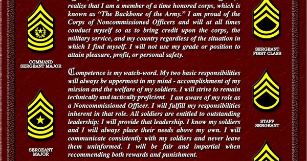 NCO Creed. No one is more professional than I, I am a Noncommissioned Officer, a leader of ...