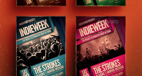 Indieweek flyer – designed to promote an Indie Rock / Alternative / Grunge music event