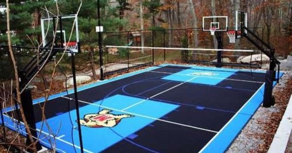 Backyard Basketball Court Designing An Outdoor Basketball Court With Flex Tiles Outdoor Basketball Court Basketball Court Backyard Home Basketball Court