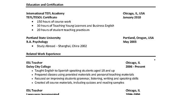 english teacher resume no experience