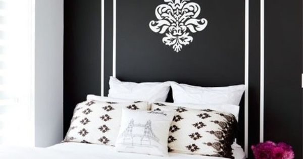 black wall painted headboard hot pink highlights teen