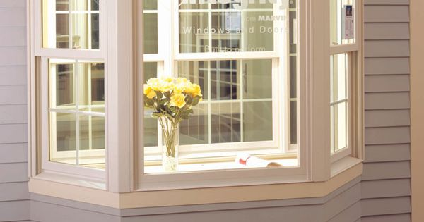 Integrity picture angle bay window with traditional double for Double hung patio doors
