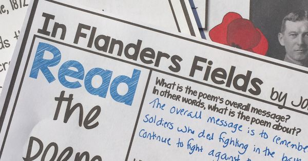 analysis in flanders fields In flanders fields the poppies blow between the crosses, row on row, that mark  our place and in the sky the larks, still bravely singing, fly.
