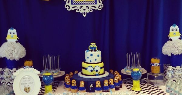 Our very own custom designed Minion dessert and candy buffet table/ Minion