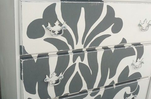Chicly fabulous damask print adorned dresser. vintage damask furniture dresser decorating decor