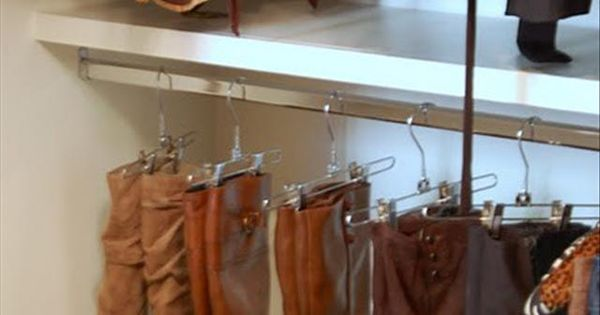 hang boots from pants hangers +12 other Tips & Tricks To Simplify