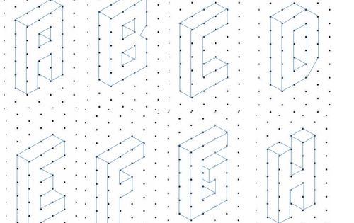 the alphabet  a to z  written in capital letters on isometric paper  students can copy the