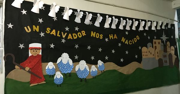 Mural navide o fondo de pell n ecol gico pastor ovejas for Mural navideno