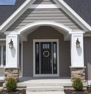 Traditional Front Door With Golden White Ledger Panel Gaf Weatherside Emphasis Shingle Siding Exter Facade House Modern Farmhouse Exterior Farmhouse Exterior