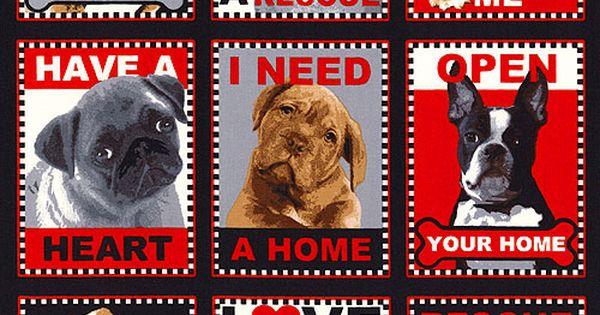 "Rescue Me Dog Adoption 24"" x 44"" PANEL Quilt Fabrics"