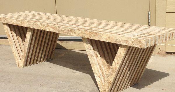 osb slat bench unfinished home design pinterest. Black Bedroom Furniture Sets. Home Design Ideas
