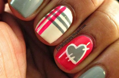 Fairly Charming Heart nails nail nails nailart
