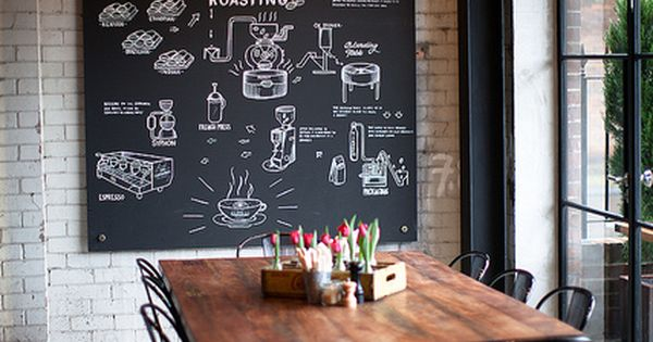 oversized chalkboard wall, concrete. restaurant / office / loft living idea