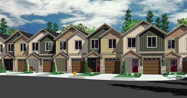 Plan 38026lb Seven Plex House Plan With Open Living Area Narrow House Plans Open Living Area Row House Design
