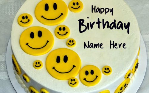 Cute Smiley Yellow Birthday Cake With Your Name.Print Name on Smiley Cake.Happy ...