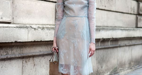 { via Street Style Aesthetic } silvery light blue short, long sleeved lace