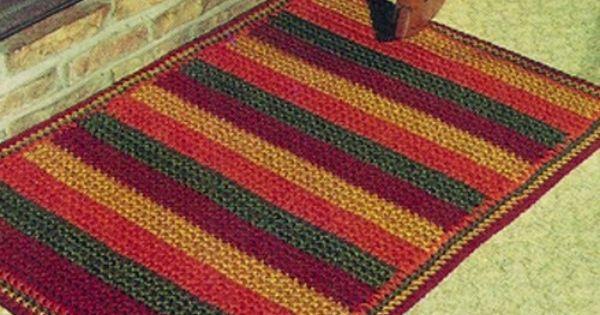 Easy Striped Crochet Rug Pdf Pattern Vintage 1960s