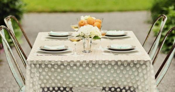 uber cute polka dot tablecloth.
