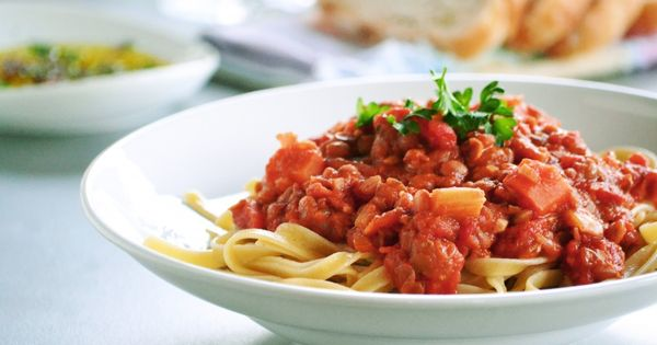 Vegan Recipe - Lentil Bolognese Over Pasta