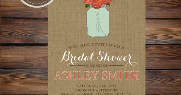 Printable Shabby Chic, Burlap and Mason Jar Bridal Shower ...