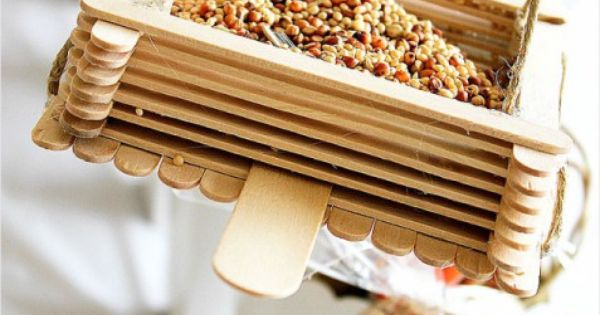 Popsicle stick bird feeders (good project for kids!)