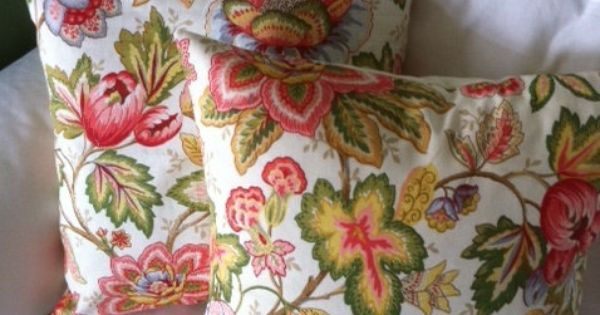 Orange Pink Green Blue and Brown floral pillow cover, decorative pillow, throw pillow, 18x18 ...