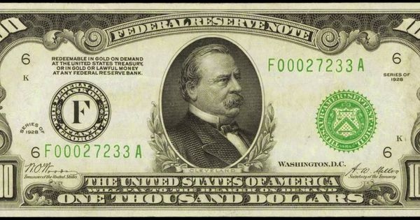 1928 One Thousand Dollar Federal Reserve Note. F - Bank of Atlanta Portrait of Grover Cleveland ...