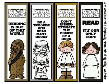 photo about Star Wars Bookmarks Printable titled Star Wars Themed Bookmarks Melonheadz Graphics - 8 Options