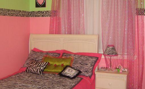 Pink green and zebra bedroom girls 39 room designs - Comely pictures of girl zebra bedroom design and decoration ...