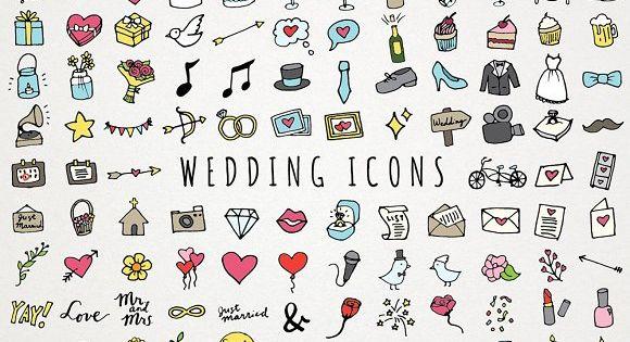 Hand Drawn Wedding Icons by Lemonade Pixel on @creativemarket