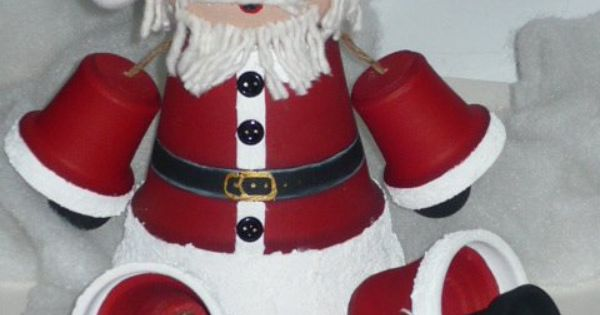 Santa claus clay terra cotta pots pinterest