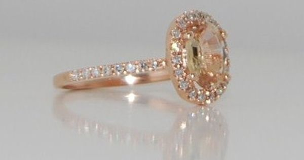 Oval champagne peach sapphire diamond ring 14k rose gold. Pretty..