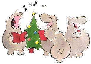 I Want A Hippocampus For Christmas.Hippo Christmas Carol Singers Artist L J Vis Hippos