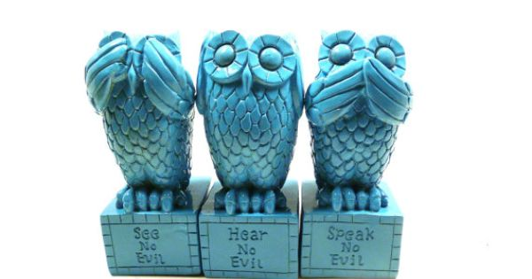 Hear no evil owls speak no evil see no evil owl figurines island blue turquoise wood - Hear no evil owls ceramic ...