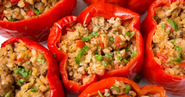 Turkey And Brown Rice Stuffed Bell Peppers Recipe Recipe Stuffed Peppers Stuffed Bell Peppers Bell Pepper Recipes