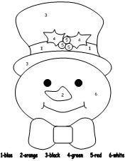 Snowman Color By Number Snowman Coloring Pages Color By Numbers Christmas Coloring Pages