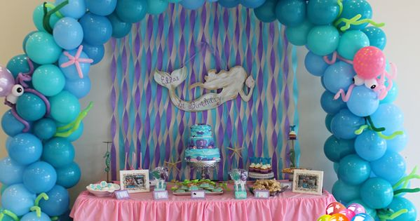 Little Mermaid Under The Sea Balloon Arch Cake Table
