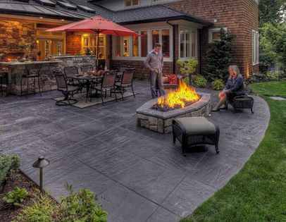 Stamped Concrete Patio Looks Like Large Pavers Done