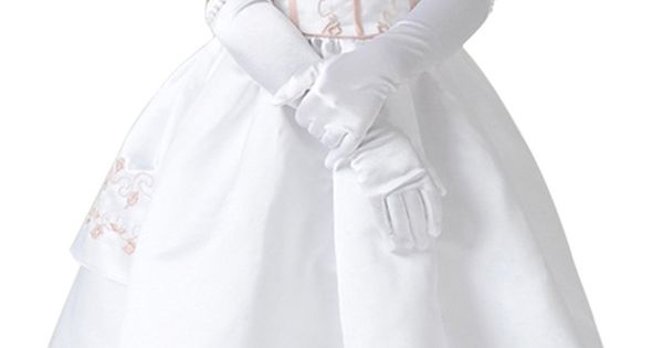 Evaliana White Beaded Flower Girl Kids Children Wedding Evening Halloween Party Gloves