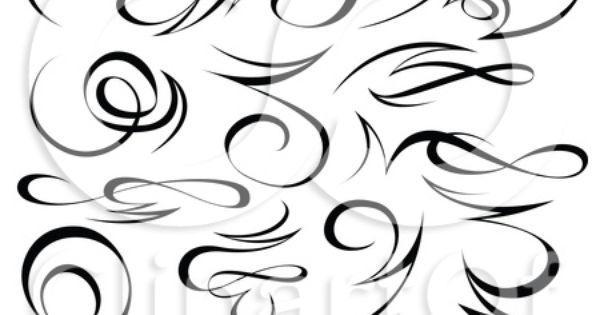 Clipart black tribal swirl calligraphic design
