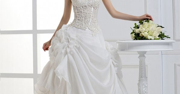 2012 Fall Strapless Organza bridal gown Ball Gown, Floor Length, Dropped, Cathedral