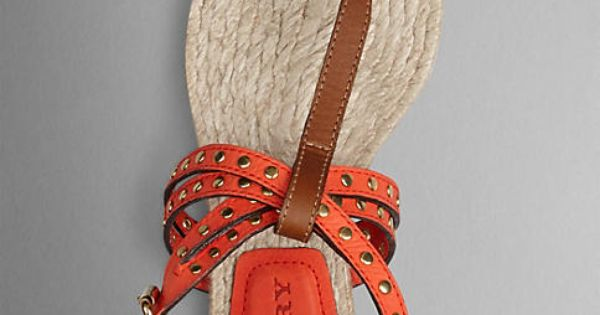 Burberry Vibrant Orange Studded Leather Espadrille Sandals - Leather sandals with stud detailing.  T-bar and ankle strap with polished metal buckle closure.  Discover the shoes collection at Burberry.com